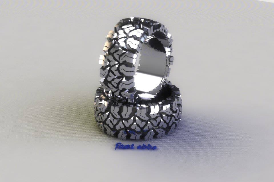 tread ring silver or gold - Tire Wedding Rings