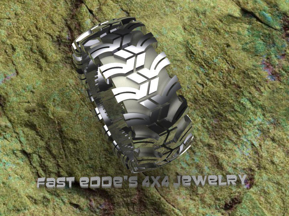 tread ring silver or gold - Mud Tire Wedding Rings