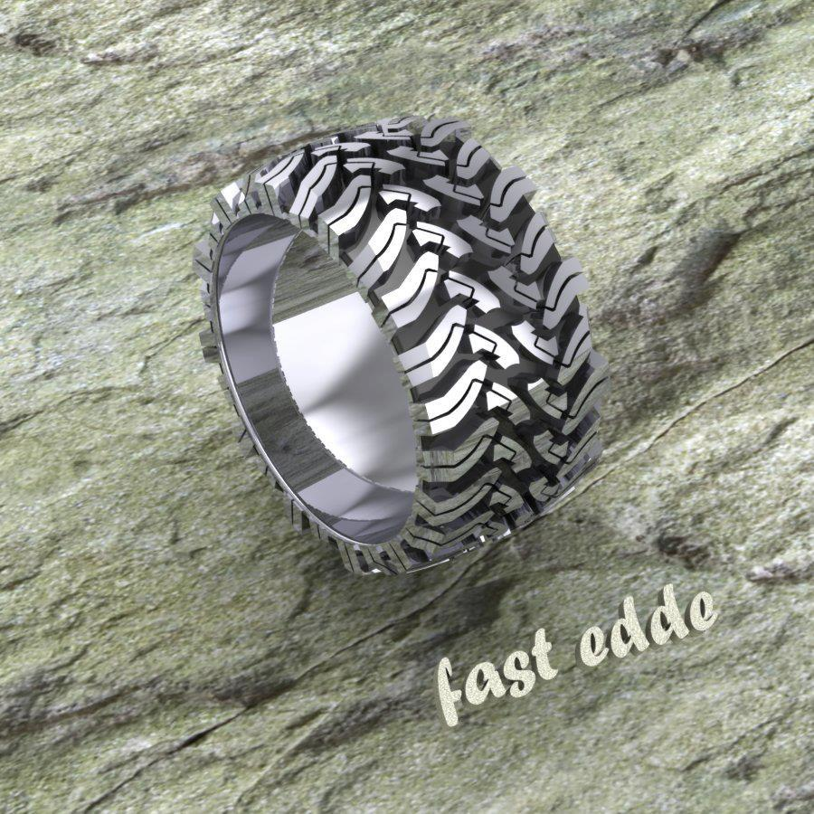tread ring silver or gold mud tire wedding ring Tread Ring Silver or Gold